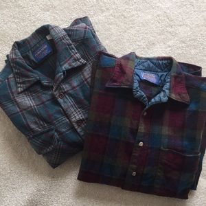 2 Pendleton vintage virgin wool shirts Large L men